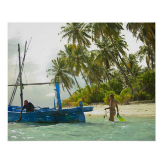 Woman on small traditional fishing boat, print