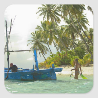 Woman on small traditional fishing boat, square sticker