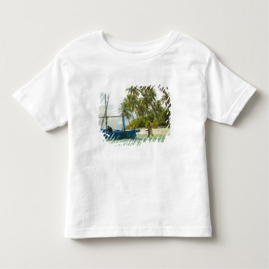 Woman on small traditional fishing boat, toddler t-shirt