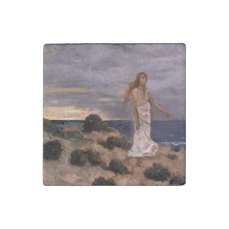 Woman on the Beach by Puvis de Chavannes Stone Magnet