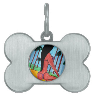 Woman on the Beach Pet ID Tag