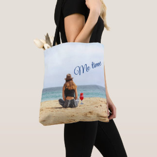 Woman On The Beach With Drink Me Time Tote Bag