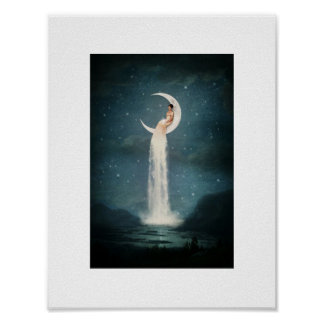 Woman on the Moon Card Poster