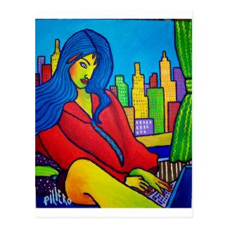 Woman Online Postcard