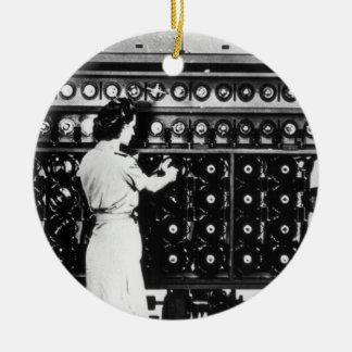 Woman Operates a Decryption Machine Ceramic Ornament