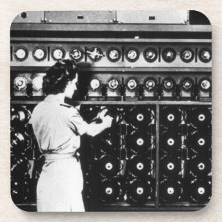 Woman Operates a Decryption Machine Beverage Coasters