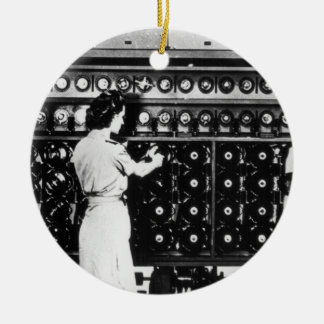 Woman Operates a Decryption Machine Christmas Ornament