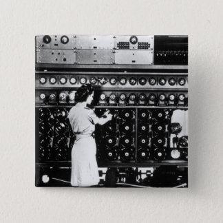 Woman Operates a Decryption Machine Pinback Button