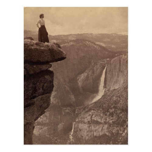 Woman Overlooking Yosemite Falls Postcard
