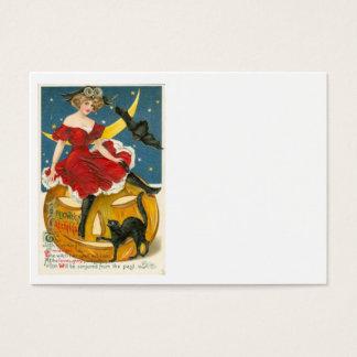 Woman Owl Bat Crescent Moon Jack O' Lantern Business Card
