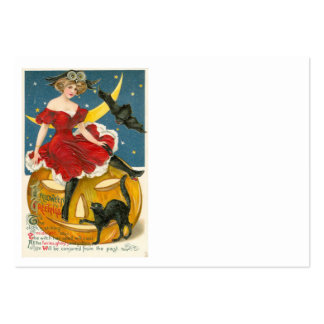Woman Owl Bat Crescent Moon Jack O' Lantern Large Business Card