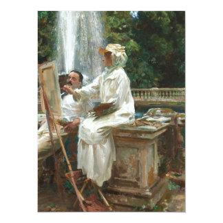 Woman Painting at Villa Torlonia Italy 5.5x7.5 Paper Invitation Card