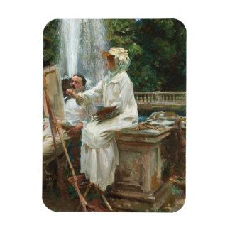Woman Painting at Villa Torlonia Italy Magnet
