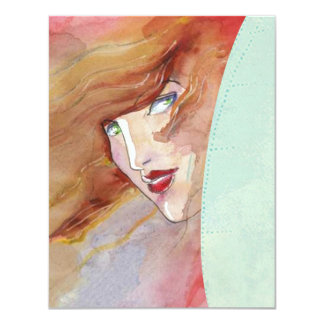 WOMAN PEERING OUT FROM ABSTRACT RV INVITATIONS! CARD