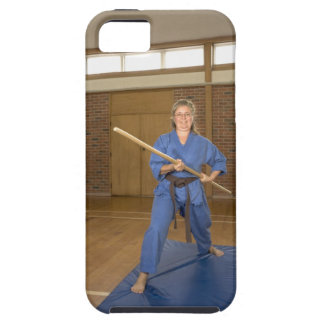 Woman performing Ken-Do-Kai Karate, smiling, iPhone SE/5/5s Case