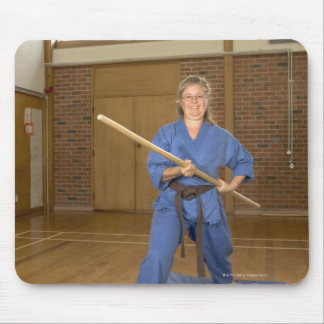 Woman performing Ken-Do-Kai Karate, smiling, Mouse Pad