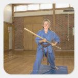 Woman performing Ken-Do-Kai Karate, smiling, Stickers