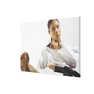 Woman performing martial arts 2 canvas print