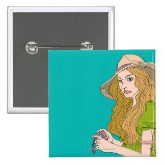 Woman Photographer Pinback Button