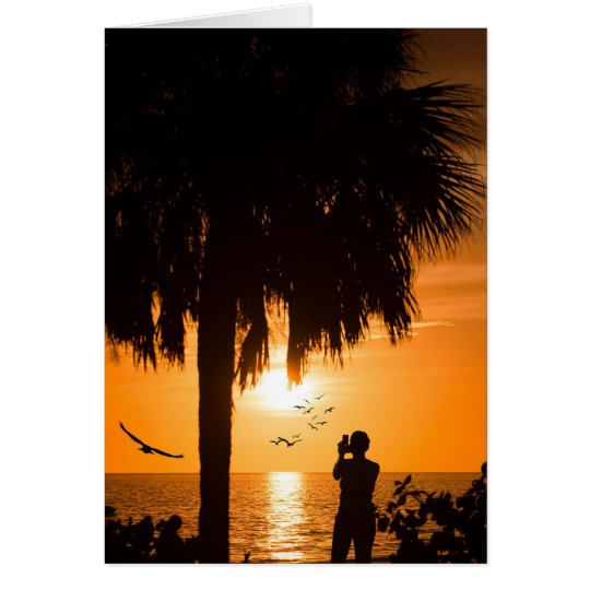 Woman Photographing The Sunset Card