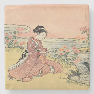 Woman picking chrysanthemums stone coaster