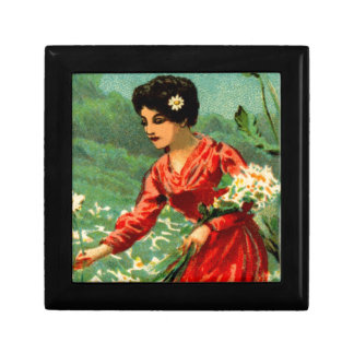 Woman picking flowers keepsake box