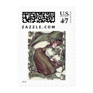 Woman Picking Shamrocks Shamrock Postage Stamp