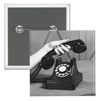 Woman picking up phone close up of hand 2 inch square button