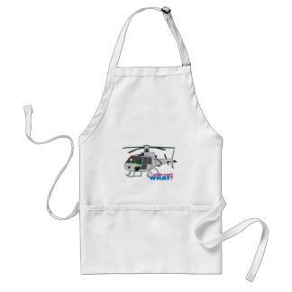 Woman Pilot flying Silver Helicopter - Light/Red Aprons
