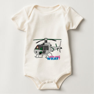 Woman Pilot flying Silver Helicopter - Light/Red Baby Bodysuit