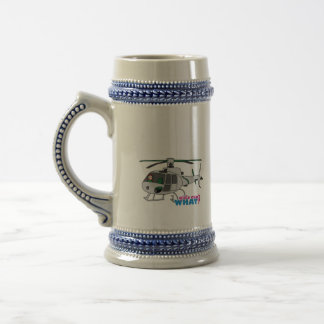 Woman Pilot flying Silver Helicopter - Light/Red Beer Stein
