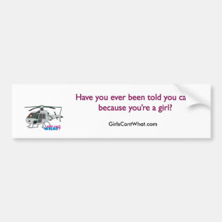 Woman Pilot flying Silver Helicopter - Light/Red Bumper Sticker