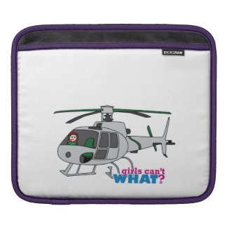 Woman Pilot flying Silver Helicopter - Light/Red Sleeves For iPads