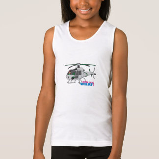 Woman Pilot flying Silver Helicopter - Light/Red Tank Top