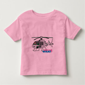 Woman Pilot flying Silver Helicopter - Light/Red Toddler T-shirt