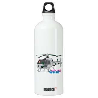Woman Pilot flying Silver Helicopter - Light/Red Water Bottle
