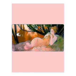 Woman pink Mucha Art Nouveau Postcard