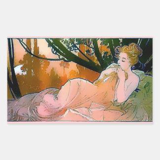 Woman pink Mucha Art Nouveau Rectangular Sticker