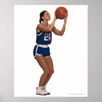 Woman player shooting basketball poster