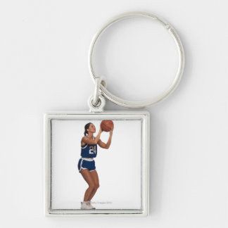 Woman player shooting basketball Silver-Colored square keychain