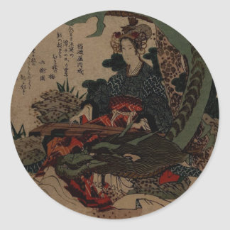 Woman Playing A Koto With A Dragon Classic Round Sticker