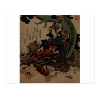 woman playing a koto with a dragon postcard