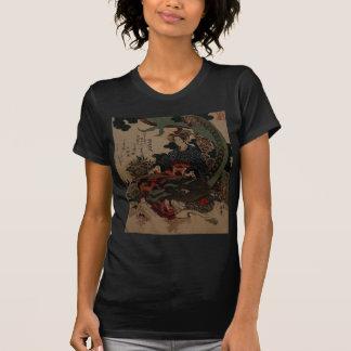 Woman Playing A Koto With A Dragon Tee Shirts