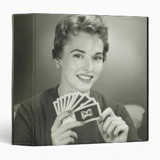 Woman Playing Cards 3 Ring Binder