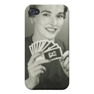 Woman Playing Cards iPhone 4/4S Cases