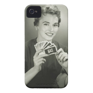 Woman Playing Cards iPhone 4 Cover