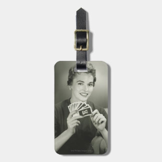 Woman Playing Cards Luggage Tag
