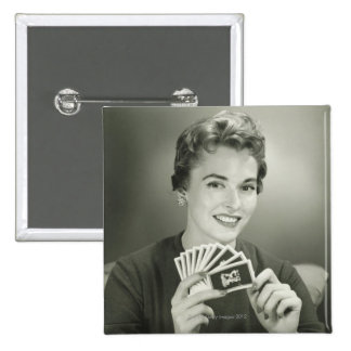Woman Playing Cards Pinback Button