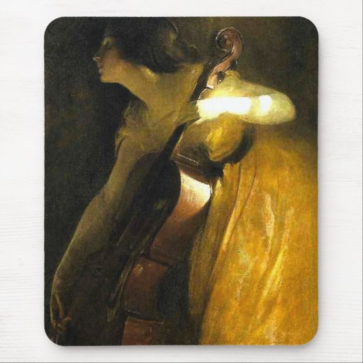 Woman Playing Cello Mouse Pad