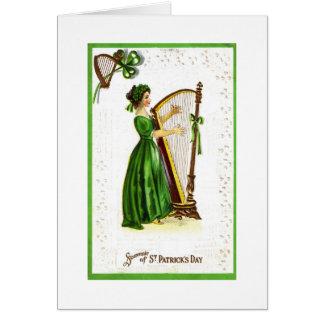 Woman Playing Harp Card